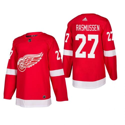 Men's Detroit Red Wings Michael Rasmussen #27 Home Red Authentic Player Cheap Jersey