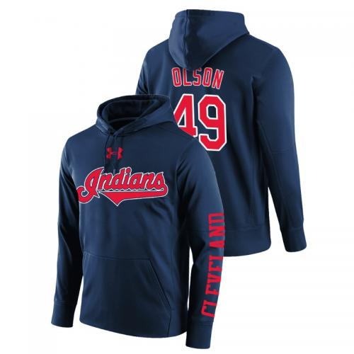 Men's Cleveland Indians #49 Navy Tyler Olson Name & Number Hoodie