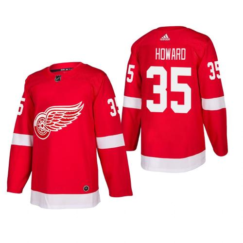 Men's Detroit Red Wings Jimmy Howard #35 Home Red Authentic Player Cheap Jersey