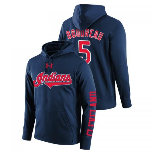 Men's Cleveland Indians #5 Navy Lou Boudreau Name & Number Hoodie