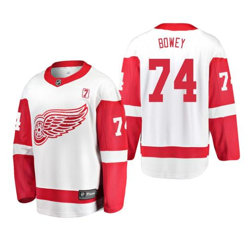 Men's Madison Bowey #74 Detroit Red Wings Away White #7 Patch Jersey